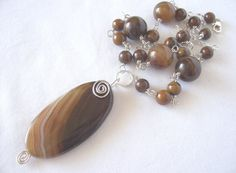 necklace agate and sterling silver neutrals new for by sydemcgus
