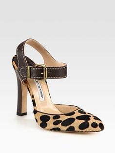 Manolo Blahnik Leopard-Print Pony Hair and Leather Slingback Pumps