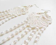 Ivory lace earrings lace fashion white delicate by kapelusznik, $19.60