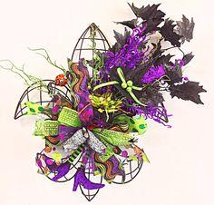Halloween Wreath, fleur de lis, Scary Wreath, Spider Wreath, Ghost, All Hallows Eve, Halloween Decor