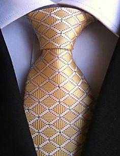 Men Wedding Cocktail Necktie At Work Beige White Cross Tie – CAD $ 6.94