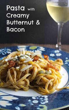 Pasta with Creamy Butternut & Bacon makes for a tasty #SundaySupper   cookingchatfood.com