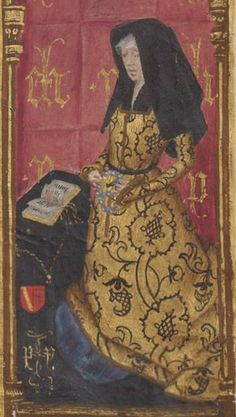 Book of Hours, D'Isabelle de Lalaing Reading Art, Woman Reading, Medieval Fashion, Medieval Clothing, Middle Ages Clothing, 16th Century Clothing, Renaissance, Medieval World, Book Of Hours
