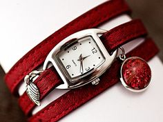 DARK RED Wrap Watch with real flowers