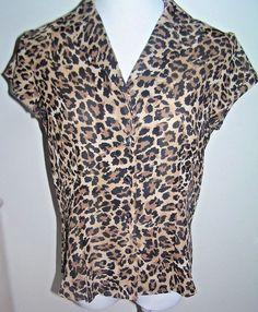 Womens Button Front Blouse Size 8 Cheetah Leopard Print Studio by Liz Claiborne #StudiobyLizClaiborne #Blouse