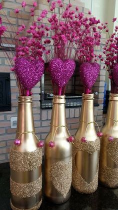Ideas Birthday Table Centerpieces Diy Silver For 2019 Wine Bottle Art, Diy Bottle, Wine Bottle Crafts, Bottle Centerpieces, Wedding Centerpieces, Wedding Decorations, Centrepieces, Valentine Decorations, Table Decorations