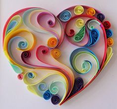 Wall art, heart shape that can brighten your room made from quiling paper, quilling art, colorful, bright colour