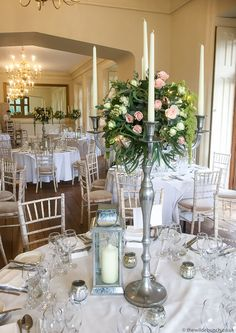 A Wilde Bunch silver candelabra design at St Audries Park in Somerset. Park Weddings, Wedding Events, Silver Candelabra, Bristol, Wedding Flowers, Floral Design, Wedding Photos, Table Settings, Table Decorations