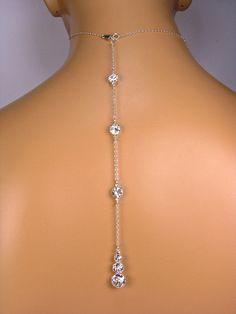 "Backdrop Back Necklace Bridal Necklace ATTACHMENT Graduating Size 3 Stone Rhinestone Backdrop Diamond Look Swarovski Crystal 7""-13"" Demetria"