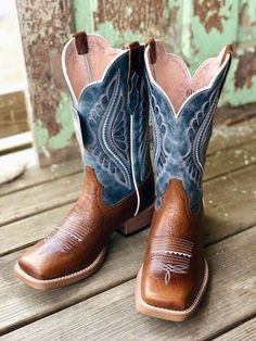 Ariat Women's Primetime Gingersnap & Baby Blues Square Toe Boots 10025032 - New Ideas Cute Cowgirl Boots, Cowboy Boot Outfits, Cowboy Boots Women, Cute Boots, Boho Boots, Timberland Boots, Timberland Fashion, Western Shoes, Western Riding Boots