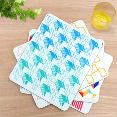 Set Of Four High Quality Stylish Melamine Placemats Featuring Vibrant Geometric Contemporary Designs The