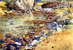 Brook among Rocks - John Singer Sargent - WikiPaintings.org