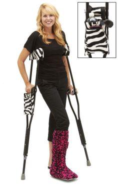 Zebra Stripe Crutch Covers and Crutch Accessories for Standard Crutches #EDS