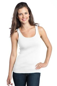 Buy the District - Juniors 1x1 Rib Tank Style DT235 from SweatShirtStation.com, on sale now for $7.99 #white #tanktop #district #juniors