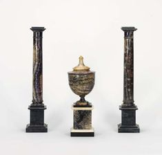 A GEORGE III BLUEJOHN COVERED URN. Of tapering form with a spreading cover over a square marble base, together with a pair of English bluejohn and black marble columns, century, each of typical form on a square base - Dim: high Castleton Derbyshire, John Stones, Marble Columns, Napoleonic Wars, Grand Tour, Black Marble, Urn, Decoration, 18th Century