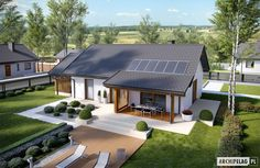 Projekt domu Kornel VI (z wiatą) energo - koszt budowy 165 tys. Small House Design, Modern House Design, Future House, Modern Bungalow House, Simple House Plans, Bungalows, Facade House, Home Design Plans, Big Houses