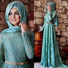 HT12 2016 Long Sleeve Blue Lace Belt Hijab Evening Dresses Muslim Women Long Dress