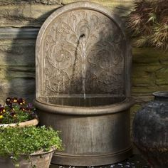 The classically inspired Corsini Water Fountain is as elegant as those found in quiet European courtyards. This handcrafted fountain is a work of art, with a peaceful stream of water cascading from the eloquently embossed back. Ideal for tighter spaces, the fountain sits almost flush against a garden or patio wall. Handcast from premium-quality stone Aged limestone finish is hand applied ...
