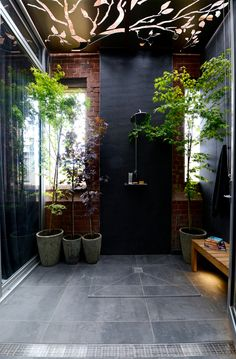 Screen star: The twins wowed with their stenciled ceiling screen which let the light filter through but the judges thought their terrace would be better suited in Bali Outdoor Bathrooms, Chic Bathrooms, Outdoor Rooms, Outdoor Gardens, Outdoor Showers, Outdoor Ideas, The Block Bathroom, Laundry In Bathroom, Washroom