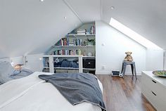 totally obsessed with grey and white these days , would be perfect for attic bedroom...
