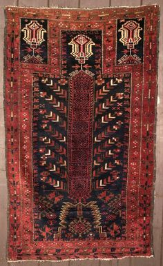 19th century Rare Baluch prayer rug.