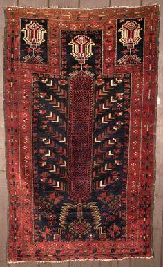 19th century Rare Baluch prayer rug.