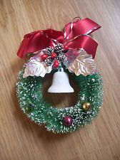 vintage bottle brush corsage with mercury glass ornaments