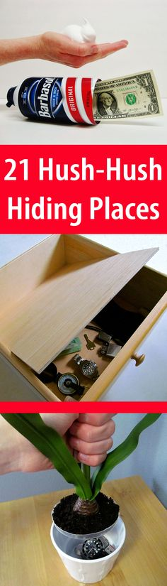Hush-Hush Hiding Spots Prying eyes will find your secret treasures… unless you stash them safely!Prying eyes will find your secret treasures… unless you stash them safely! Secret Hiding Spots, Secret Safe, Hidden Spaces, Hidden Rooms, Secret Storage, Hidden Storage, Man Crafts, Diy And Crafts, Wood Crafts