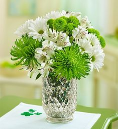 green spider mums daisies and alstromeria reception wedding flowers,  wedding decor, wedding flower centerpiece, wedding flower arrangement, add pic source on comment and we will update it. www.myfloweraffair.com can create this beautiful wedding flower look.
