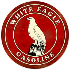 This White Eagle Gasoline round metal sign measures 14 inches by 14 inches and weighs in at 2 lb(s). We hand make all of our round metal signs in the USA using heavy gauge american steel and a process known as sublimation, where the image is baked into a powder coating for a durable and long last...