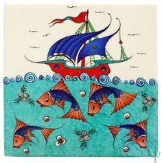 another iznik fish tile Classic Sailing, Classical Period, Art Nouveau Tiles, Turkish Tiles, China Painting, Tile Art, Islamic Art, Fabric Patterns, Miguel Angel