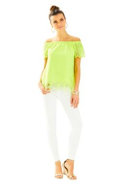 2f514c37bbc28 Marble Lace Off The Shoulder Top. White Jeans