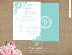 Wedding Welcome Card - Lace Collection with Monogram - Mint or any color - Front/Back Design Options for Printed Card with Wedding Weekend Info - FREE SHIPPING. $25.00, via Etsy.
