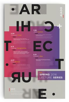 "A 20""x30"" poster advertising an architecture lecture series hosted at The School of The Art Institute of Chicago."
