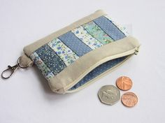 Patchwork Coin Purse with Key Clasp and Card Pockets,
