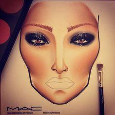 My latest work in progress :)... MAC glam beauty. Facechart by pinkcolours https://www.facebook.com/PinkcoloursMakeup