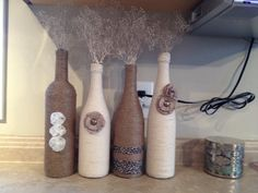 First Pinterest project was a success! #homedecor #winebottles #twine #decor