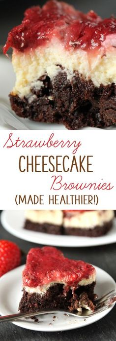These fudgy strawberry cheesecake brownies are made healthier with 100% whole grains and Greek yogurt!