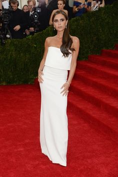 Victoria Beckham's simple white dress at the Met Ball red carpet in New York City is one of the most memorable looks ever from the Met Gala.