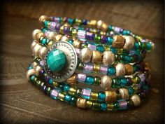 Gypsy Glass and Turkoman Button with Vintage Charms Beaded Memory Wire Bracelet