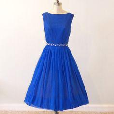 1950s Dress / 60s Dress, Sapphire Blue Silk Chiffon Formal Cocktail Wedding Party Dress, Beaded Belt, Full Skirted Rockabilly Vintage Dress. $68.00, via Etsy.