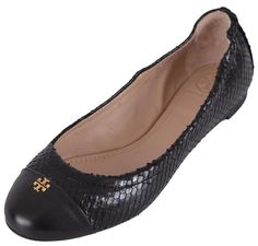 edb2abe7eff Tory Burch Black New Women s York Snake Print Cap Toe Ballet Flats Size US  6 Regular (M