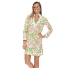 Its bright, summery pattern and comfortable cotton/spandex fabric make this tunic a vacation must-have. Pair with white jeans and a belt at the waist to...
