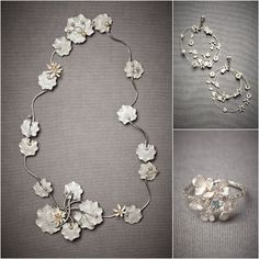 Broad, fluttering leaves lazily float in a freeform oval around your neck. From Paris by Debra Moreland. at widest points. Handmade in USA. A BHLDN exclusive Contemporary Jewellery, Modern Jewelry, Metal Jewelry, Jewelry Shop, Jewelry Art, Silver Jewelry, Jewelry Accessories, Jewelry Design, Fashion Jewelry