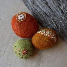 Lisa Jordan's felted stones with beads