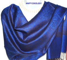 Blue Pashmina Scarf.Royal Blue and Black by HappyIdeology on Etsy