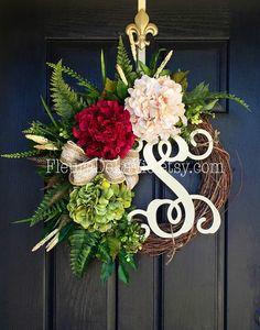 NEW ITEM  Front Door Wreath Summer Wreath for by FleursDeLaVie