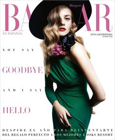Anna Jagodzińska shines in Elie Saab for Harper's Bazaar Mexico December 2015 cover [covers]
