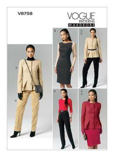 V8758 | Misses' Jacket, Dress, Skirt and Pants Sewing Pattern | Vogue Patterns