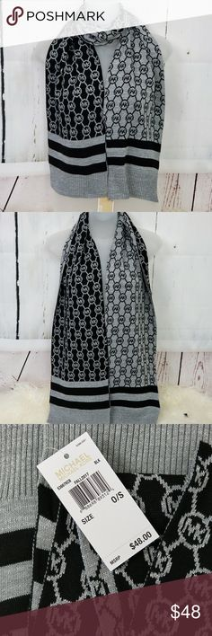 MICHAEL KORS SCARF metallic - black - gray PRICE IS FIRM  New with tags  100% AUTHENTIC MICHAEL KORS  SAME DAY SHIPPING GIFT IDEA!  NEW 2017 MICHAEL KORS Metallic SCARF with MK LOGOS COLOR: BLACK AND GRAY and silver threading   TONS MORE STYLES IN MY CLOSET Michael Kors Accessories Scarves & Wraps